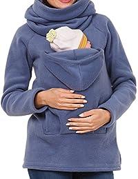 MissChild Sudadera Canguro con Capucha Mujer Premamá Sudaderas Portabebés Chaqueta Outwear Otoño Invierno Portador de Bebé