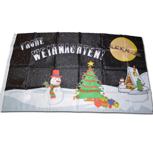 Original Handycop® Flagge Fahne F93704 FROHE WEIHNACHTEN - Motiv mit Weihnachtsmann, Schneemann, Schlitten, etc. 90 x 150 cm - wetterfeste Qualität