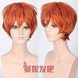 WIAGHUAS Anime Perücke männlich kurze Haare Urlaub Silber blau lila Orange Orange Perücke Multicolor optional,braun