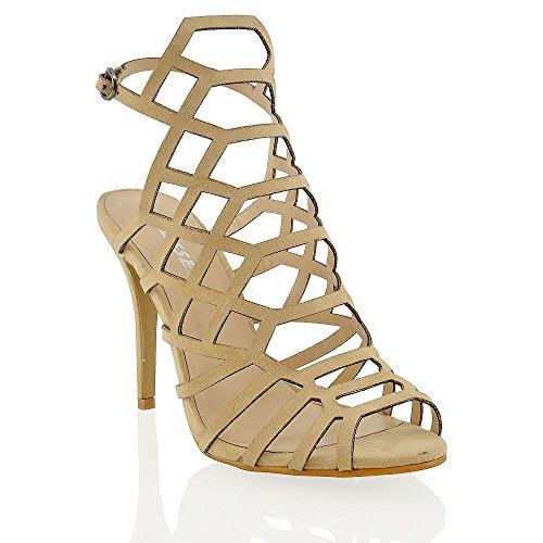 ESSEX GLAM Frauen Pfennigabsatz Sandalen Ausgeschnitten Eingesperrt Verziert Schuhe Hautfarbe