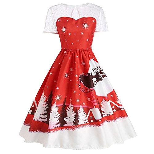 billy Spitze Cocktailkleid Ballkleider Swing Knielang Weihnachten Kleid Partykleider (EU44, Rot Weihnachtsbaum) (Weihnachten Kleid Frauen)