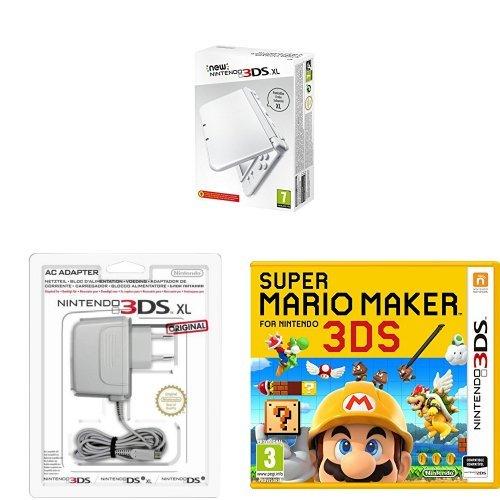 New-Nintendo-3DS-XL-Color-Blanco-Perla-Adaptador-a-corriente-Super-Mario-Maker