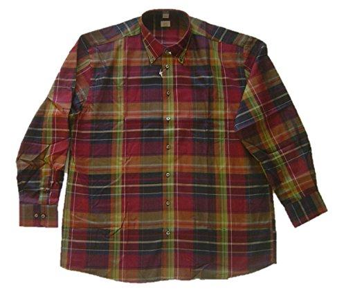 ALBA MODA camicia da uomo senza tempo camicia a quadri a maniche lunghe bordeaux-Kaki Bordeaux-khaki 44