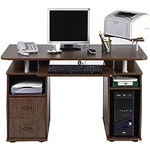 Schreibtisch Computertisch Bürotisch PC Tisch mit Druckerablage, Tastaturauszug,2 Schubladen und MonitorplattformXXL(Farbwahl) (Walnuss)