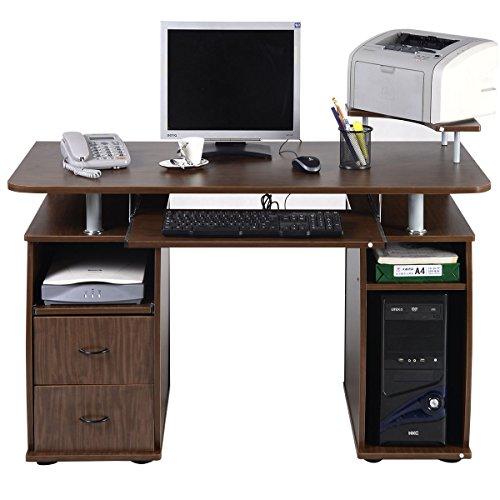 COSTWAY Computertisch Schreibtisch Bürotisch Arbeitstisch PC-Tisch mit Tastaturauszug Druckerablage Schubladen Farbwahl (Walnuss) (Multimedia-tisch)
