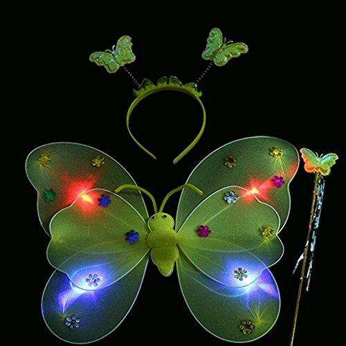 3pcs / Set Mädchen geführtes blinkendes helles feenhaftes Schmetterlings-Flügel-Stirnband-Kostüm-Spielzeug HKFV Zauberstab Magic stick (Engel Gelber Flügel Kostüm)