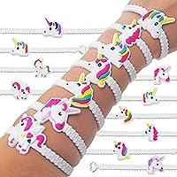 Gemini_mall® 5/10/12pcs PVC Rubber Unicorn Bracelets Wristband Party Favors Supplies for Kids Children Gift