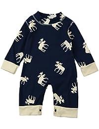 Yannerr Bebé niño niña de manga larga mameluco de ciervos mono pijamas trajes