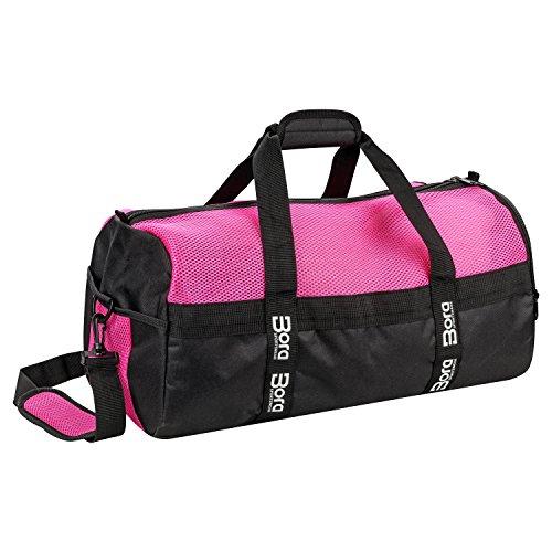 Bora Sportswear Sporttasche Mesh 25L mit Schuhfach und Mesh-Oberseite für beste Belüftung - klein mit abgetrenntem Nassfach, Wertfach und Schultergurt - in Rosa, Pink und Lila für Damen & Mädchen (Pink)