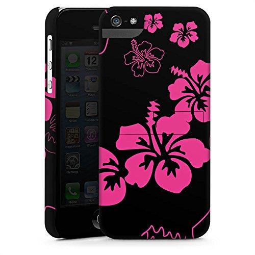 Apple iPhone X Silikon Hülle Case Schutzhülle Blumen Schwarz Pink Muster Premium Case StandUp