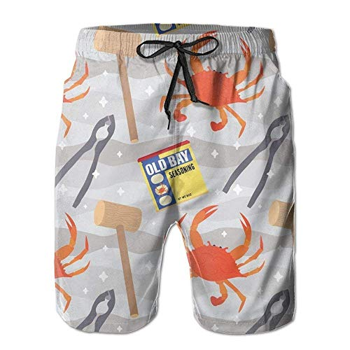 Desing shop Men's Quick Dry Swim Trunks Colorful Crabs Beach Shorts Small Glory Boys Jeans