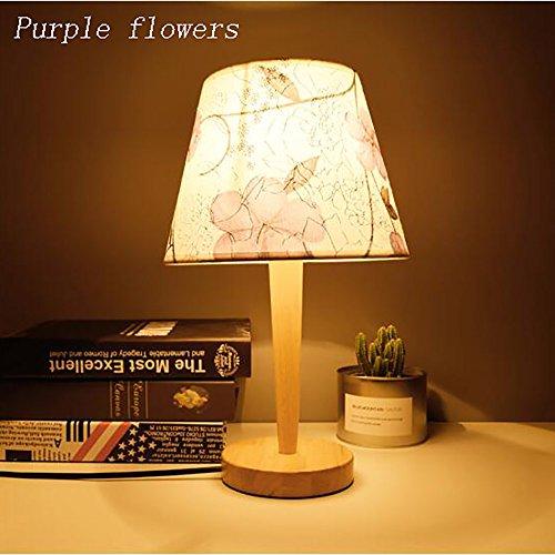 TOYM UK Chambre européenne nordique simple moderne bois art créative personnalité lampe de chevet (Couleur : Fleurs pourpres)