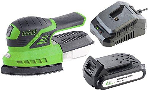 AGT Professional Akku Werkzeug: Akku-Multischleifer AW-18.s mit Akku & Schnellladegerät (Handschleifmaschine)