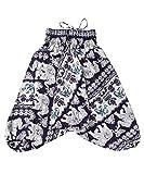 Lofbaz Kinder Mädchen Kinderhose Hose Haremshose und Overall Aladinhose Baby Sommer Jumpsuit - Elephant 21 Violett - 3-4Y