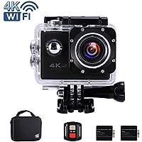 """Ankere Sport Aktion WIFI Kamera 4K Ultra HD Unterwasser 30m Wasserdichte, 170 ° Weitwinkel Cam, 2,0 """"LCD-Bildschirm, mit Zubehör(2 Batterien + 2,4G Fernbedienung + Stativ + Ladegerät) - 16MP Schwarz"""