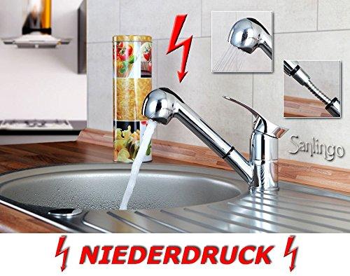 Niederdruck Spültisch Küchen Armatur schönes Design 2 Strahlarten Chrom Sanlingo -