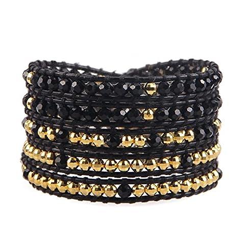 KELITCH Noir Onyx et Plaqué Or Hématite Perles 5 Rangs Fait Main Cuir Bracelet