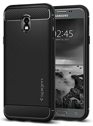 Spigen 580CS21499 Rugged Armor für Samsung Galaxy J3 (2017) Duos Hülle Karbon Erscheinungsbild Silikon Schutzhülle Case - Schwarz