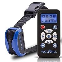 WOLFWILL Collier de Dressage Anti-aboiement Etanche Rechargeable pour Chien en Mode de Bip / Vibration, de Choc Electrostatique et Automatique Ecran LCD