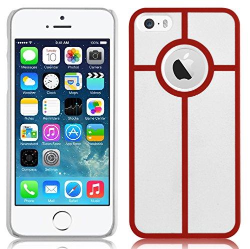 JAMMYLIZARD | Hülle für [ iPhone 5 / 5s und iPhone SE ] mit Retro Labyrinth Spiel, BLAU / ROT Kreis ROT
