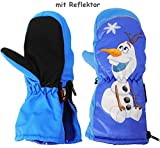 Unbekannt Fausthandschuhe - mit Reißverschluß & langem Schaft - Gr. 5 bis 6 Jahre -  Disney Frozen - die Eiskönigin - Schneemann Olaf  - LEICHT anzuziehen ! mit Daume..