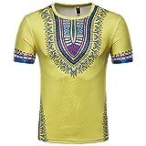 Herren Painted Design Rundkragen Freizeit Kurzarm T-Shirt(XXL,Gelb)