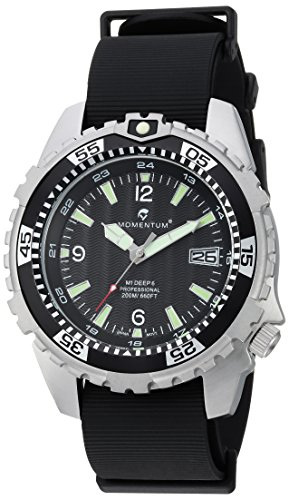 Momentum Men's 'Deep 6' Quartz Stainless Steel and Rubber Casual Watch, Color:Black (Model: 1M-DV06B11B)