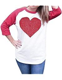 Camiseta Mujer Manga Larga IMJONO Mujer Manga larga Cuello redondo Love Heart Printing Blusa superior de la camisa-Regalo de San Valentín