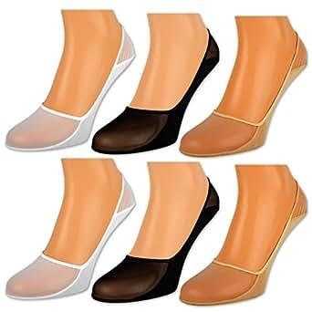 6 oder 12 Paar Damen Füßlinge Ballerina Socken Footies Baumwolle Schwarz Weiß Beige - 39901 - Sockenkauf24 (35-42 / 6 Paar, Beige)