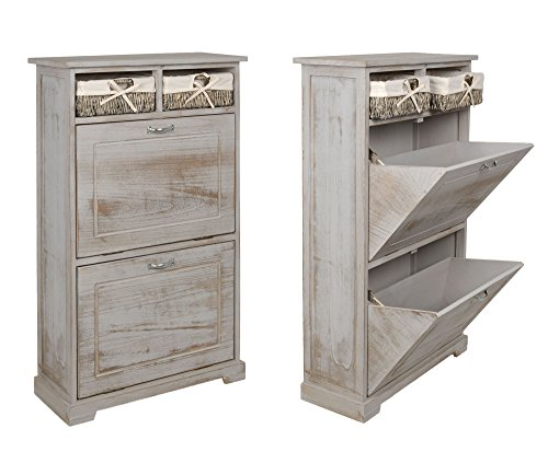 landhaus schuhschrank kommode mit schuhregal in grau shabby ean 4260415371102. Black Bedroom Furniture Sets. Home Design Ideas