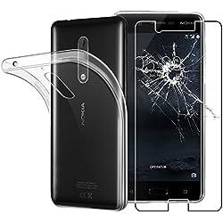 ebestStar - Coque Nokia Nokia 5 Etui Housse Silicone Gel Anti-Choc Ultra Fine Invisible, Transparent + Film Verre Trempé [NB: Lire Description] [Appareil: 149.7 x 72.5 x 8mm, 5.2'']