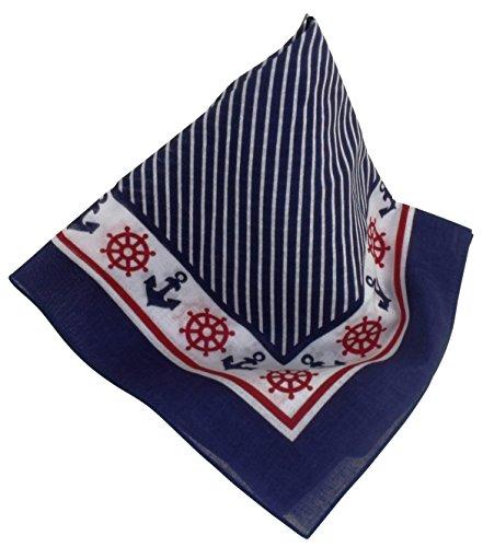 Nickituch/Bandana mit fröhlich, frischen maritimen Mustern in Marineblau (Bandana Bekleidung)