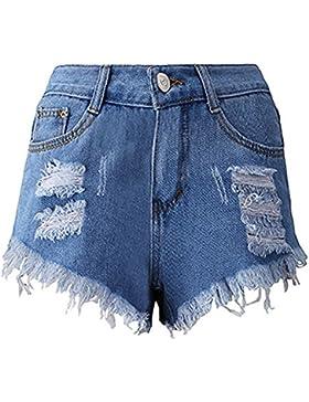 Pantaloncini,Odejoy Donne Nappa Buco Pantaloncini Jeans Pantaloni corti di jeans Donna Pizzo Uncinetto Vita Alta...