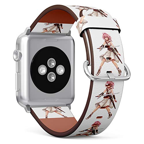 R-Rong kompatibel Watch Armband, Echtes Leder Uhrenarmband f¨¹r Apple Watch Series 4/3/2/1 Sport Edition 42/44mm - Japanese Anime Samukai Girl