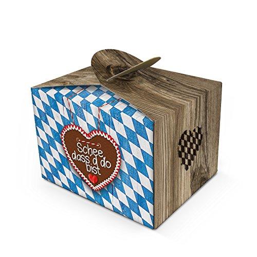10 kleine SCHÖN DASS DU DA BIST blau weiß kariert bayerische Mini-Geschenkschachtel Geschenkkarton 8 x 6,5 x 5,5 cm Verpackung Kunden Hochzeits-deko Geburtstag Gastgeschenk give-away