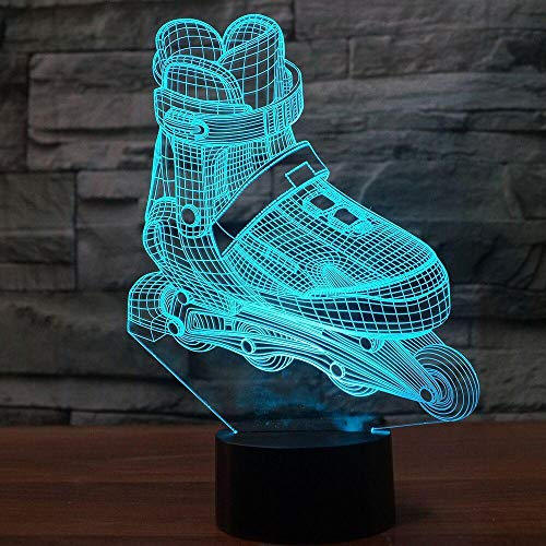 3D Led Roller Skating Modellierung Nachtlicht 7 Farben Ändern Aggressive Inline Schreibtischlampe Junge Schlafzimmer Nacht Dekor Leuchten