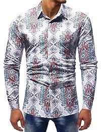 YunYoud Fashion Printed Bluse Männer Casual Langarm Slim Shirts Tops  herrenhemden baumwolle herren hemden tailliert geschnitten 26c4009e63