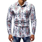 YunYoud Fashion Printed Bluse Männer Casual Langarm Slim Shirts Tops herrenhemden baumwolle herren hemden tailliert geschnitten weißes hemd slim fit aktuelle herrenmode haupt
