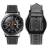 iBazal 22mm Bracelet Cuir Bandes Compatible avec Samsung Gear S3 Frontier Classic,Galaxy Watch 46mm SM-R805/800 Remplacement pour Huawei GT/Honor Magic/2 Classic,TicWatch Pro Homme Montres Band - Noir