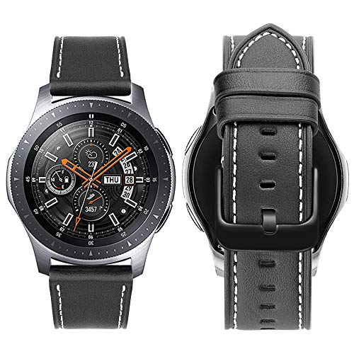 iBazal 22mm Armband Leder Uhrenarmband Lederarmband Armbänder Ersatz für Gear S3 Frontier/Classic,Galaxy Watch 46mm,Huawei GT/Honor Magic/2 Classic,Ticwatch Pro Herren Uhrarmband (Ohne Uhren)- Schwarz