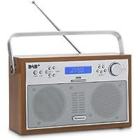 Auna Akkord Digital Radio Radio portatile (Sintonizzatore DAB +/FM con RDS, Portabile, 20stazioni memorizzabili, funzione di allarme/sveglia, Display LCD, colore: noce