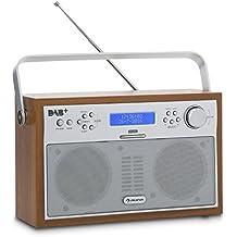 auna Akkord Radio digital portátil DAB+ PLL FM (Sintonizador radio, alarma, pantalla LCD, radiotexto información pista, interprete, genero musical, memoria 20 emisoras, diseño retro color nuez)