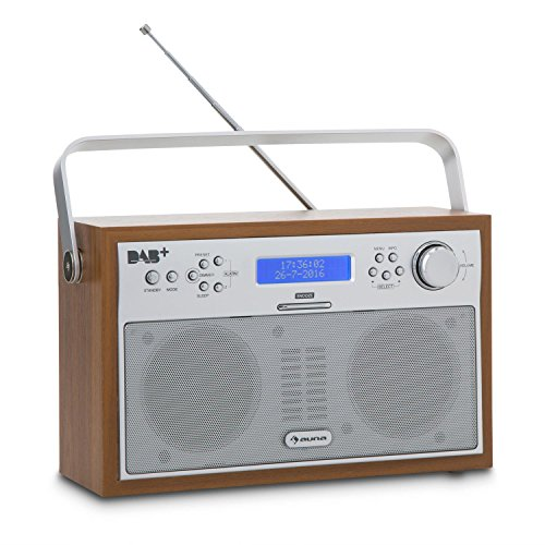 auna Akkord Digitalradio Kofferradio (DAB+/UKW-Tuner mit RDS, portabel, 20 Senderspeicherplätze, Alarm/Wecker Funktion, LCD-Display) walnuss