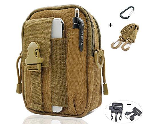 Sevenpicks Taktische Hüfttasche Multi Purpose Tasche EDC Pouch Utility Verbesserte Version mit Gurt Camping Wandern Pouch Nylon Handytasche (Khaki) -