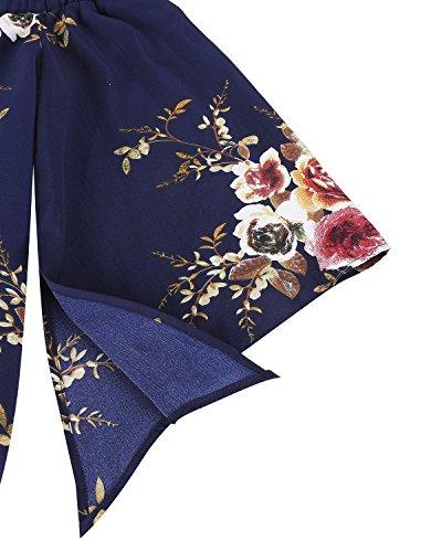 StyleDome Femme Blouse Elégant Col Bateau Epaules Dénudées à Manches 3/4 Imprimé Haut Tops Chemise Taille S-XXL Floral