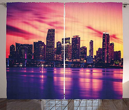 United States Curtains, View of Miami at Sunset Building Urban Modern City Life Ocean Skyline, Living Room Bedroom Window Drapes 2 Panel Set, Purple Peach,110