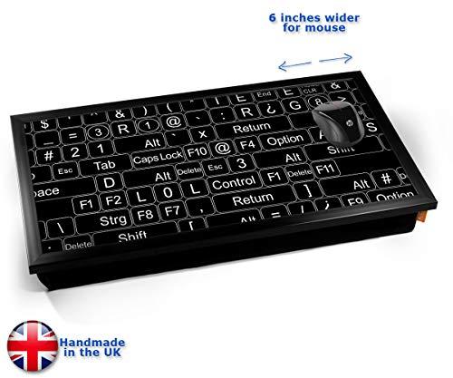 Keyboard Keys Black Cushioned Bean Bag Laptop Lap Tray Desk - Built-in EMF Shield (Electro Magnetic Field) Kissen Tablett Knietablett Kissentablett - Schwarzer Rahmen