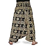 JWF Unisex Cotton Solid Afghani Trouser Harem Pants for with Elastic Waist Band (Multicolur, Free Size)