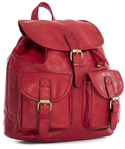 Big Handbag Shop - Zainetto da viaggio in pelle sintetica, stile vintage/casual, unisex Red (LL478)