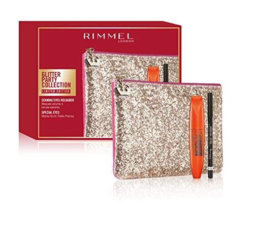 Rimmel - Confezione Regalo - Glitter Party Collection - Pochette con Mascara Volume Tenuta Estrema Scandaleyes Reloaded e Matita Occhi Tratto Preciso Special Eyes